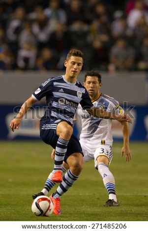 CARSON, CA. - APR 18: Dan Gargan & Krisztian Nemeth (L) in action during the L.A. Galaxy game against Sporting Kansas City on April 18, 2015 at the StubHub Center in Carson, California. - stock photo