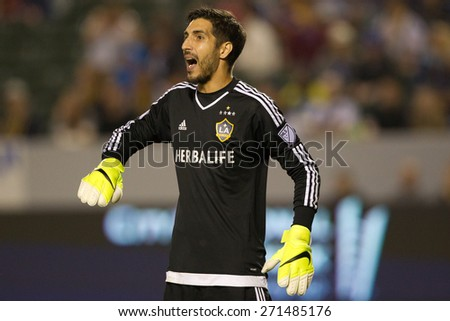 CARSON, CA. - APR 18: Jaime Penedo in action during the L.A. Galaxy game against Sporting Kansas City on April 18, 2015 at the StubHub Center in Carson, California. - stock photo