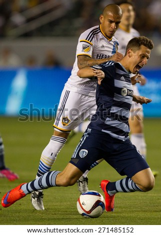 CARSON, CA. - APR 18: Rafael Garcia & Krisztian Nemeth in action during the L.A. Galaxy game against Sporting Kansas City on April 18, 2015 at the StubHub Center in Carson, California. - stock photo