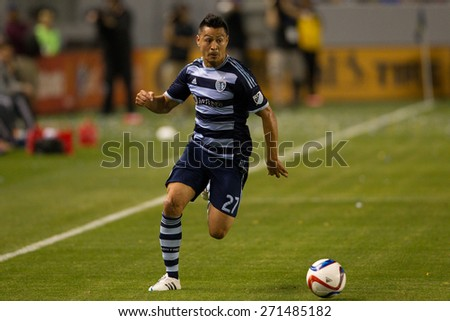CARSON, CA. - APR 18: Roger Espinoza in action during the L.A. Galaxy game against Sporting Kansas City on April 18, 2015 at the StubHub Center in Carson, California. - stock photo