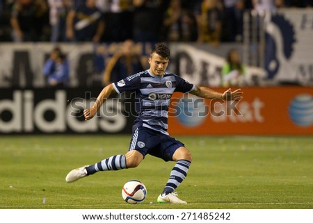 CARSON, CA. - APR 18: Servando Carrasco in action during the L.A. Galaxy game against Sporting Kansas City on April 18, 2015 at the StubHub Center in Carson, California. - stock photo