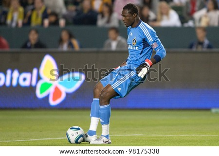 CARSON, CA. - APRIL 2: Los Angeles Galaxy G Donovan Ricketts #1 controls the ball during the MLS game between the Philadelphia Union & the Los Angeles Galaxy on April 2 2011 at the Home Depot Center in Carson, CA.