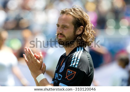 CARSON, CA. - AUG 23: Mix Diskerud during the L.A. Galaxy game against New York City FC on Aug 23, 2015 at the StubHub Center in Carson, California. - stock photo