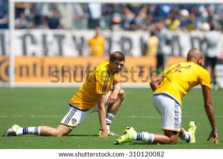 CARSON, CA. - AUG 23: Steven Gerrard during the L.A. Galaxy game against New York City FC on Aug 23, 2015 at the StubHub Center in Carson, California. - stock photo