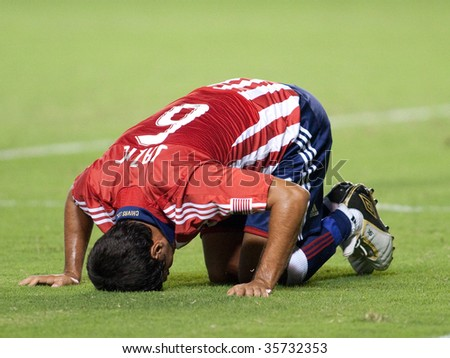 CARSON, CA. - AUGUST 22: Ante Jazic injuried during the Chivas USA vs. Toronto FC match on August 22, 2009 at the Home Depot Center in Carson. - stock photo