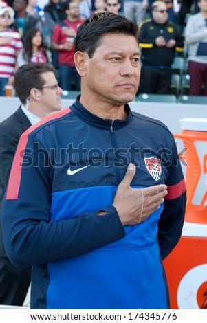 CARSON, CA. - FEB 01: USA assistant coach Martin Vasquez during the U.S. mens national team soccer friendly against Korea Republic on Feb 1st 2014 at the StubHub Center in Carson, Ca. - stock photo