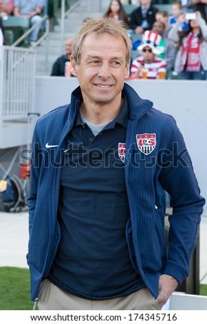 CARSON, CA. - FEB 01: USA Head Coach Jurgen Klinsmann during the U.S. mens national team soccer friendly against Korea Republic on Feb 1st 2014 at the StubHub Center in Carson, Ca. - stock photo