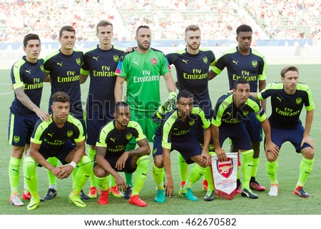 CARSON, CA - JULY 31: Arsenal starting 11 before the friendly soccer game between Chivas Guadalajara and Arsenal on July 31st 2016 at the StubHub Center.
