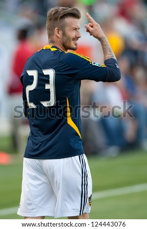 CARSON, CA - MAY 5: David Beckham warms up before the MLS game between the Los Angeles Galaxy and the New York Red Bulls on May 5th 2012 at the Home Depot Center in Carson, Ca. - stock photo
