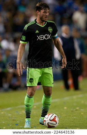 CARSON, CA - OCT 19: Brad Evans during the Los Angeles Galaxy MLS game against the Seattle Sounders on October 19th 2014 at the StubHub Center. - stock photo