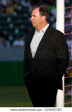 CARSON, CA - OCT 19: Bruce Arena before the Los Angeles Galaxy MLS game against the Seattle Sounders on October 19th 2014 at the StubHub Center.