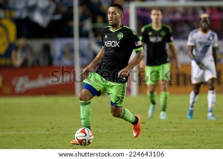 CARSON, CA - OCT 19: Clint Dempsey in action during the Los Angeles Galaxy MLS game against the Seattle Sounders on October 19th 2014 at the StubHub Center. - stock photo