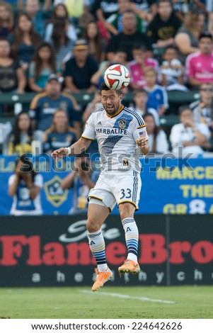 CARSON, CA - OCT 19: Dan Gargan in action during the Los Angeles Galaxy MLS game against the Seattle Sounders on October 19th 2014 at the StubHub Center. - stock photo