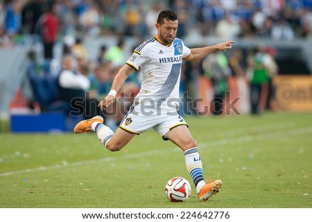 CARSON, CA - OCT 19: Dan Gargan in action during the Los Angeles Galaxy MLS game against the Seattle Sounders on October 19th 2014 at the StubHub Center.