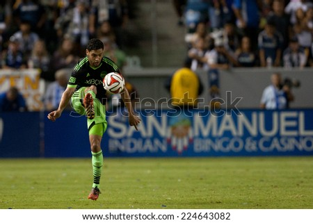 CARSON, CA - OCT 19: Lamar Neagle in action during the Los Angeles Galaxy MLS game against the Seattle Sounders on October 19th 2014 at the StubHub Center. - stock photo