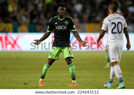 CARSON, CA - OCT 19: Obafemi Martins during the Los Angeles Galaxy MLS game against the Seattle Sounders on October 19th 2014 at the StubHub Center. - stock photo