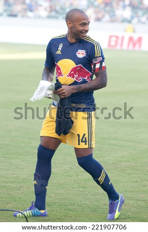 CARSON, CA - SEPT 28:  Thierry Henry during the Los Angeles Galaxy MLS game against the New York Red Bulls on Sept 28th 2014 at the StubHub Center. - stock photo