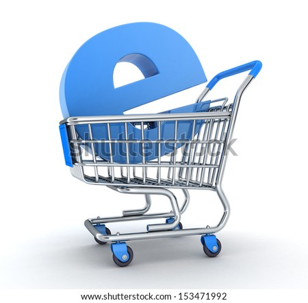 Cart and symbol e-shop (done in 3d)  - stock photo