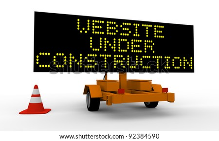 Cart with signboard displaying Website under construction
