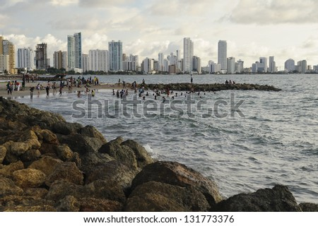 CARTAGENA DE INDIAS, COLOMBIA - NOVEMBER 11: Unidentified people participate in Carnaval de Cartagena on November 11, 2011 in Cartagena de Indias, Colombia.  The pageant celebrates independence day. - stock photo