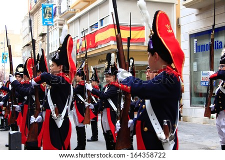 CARTAGENA, SPAIN Mar 25: Picket of soldiers parading with evening dress during the Holy week of Cargatena on March 25, 2013 in Cartagena