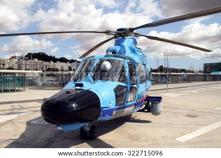 CARTAGENA, SPAIN - SEPTEMBER 24: Details of the Eurocopter AS-365N-3 Dauphin 2 of the Spanish Customs stopped in Cartagena harbor in the province of Murcia, on september 24, 2015 in Cartagena. - stock photo