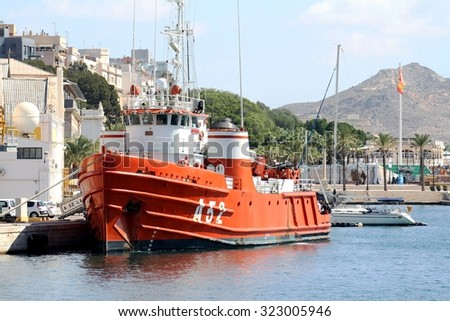 CARTAGENA, SPAIN - SEPTEMBER 24: Oceanographic ship A-52 LAS PALMAS of the Spanish Navy docked in the port of Cartagena in the Mediterranean province of Murcia, on september 24, 2015 in Murcia.  - stock photo