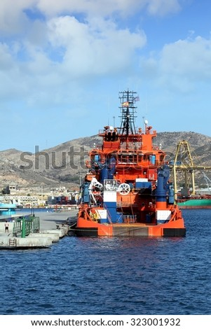 CARTAGENA, SPAIN - SEPTEMBER 24: Rescue tug Clara Campoamor of the Spanish SAR stopped in Cartagena harbor in the Mediterranean sea, on september 24, 2015 in Cartagena.