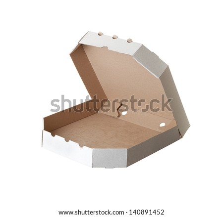 carton box for pizza on white background - stock photo