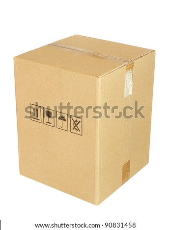 Carton box isolated on white background - stock photo