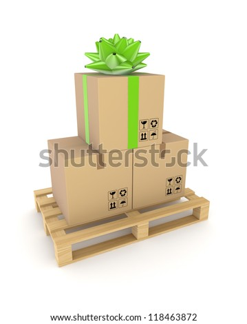 Carton box on a wooden pallet.Isolated on white background.3d rendered. - stock photo