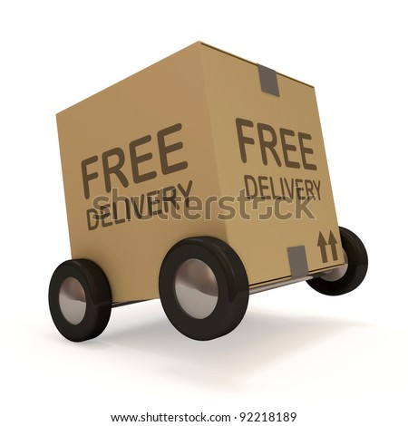 Carton Box on wheels on white background (Free Delivery Concept) - stock photo