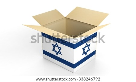 Carton box with Israel national flag, isolated on white background. - stock photo