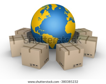 Carton boxes in a circle around the globe