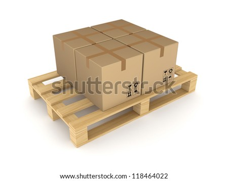 Carton boxes on pallet.Isolated on white background.3d rendered. - stock photo