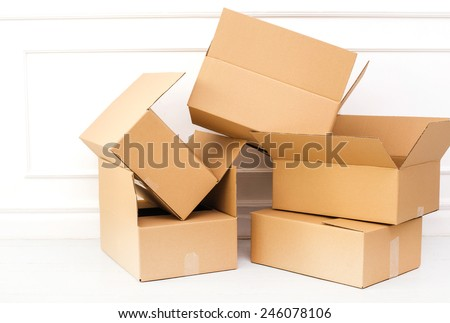 Carton boxes on the floor