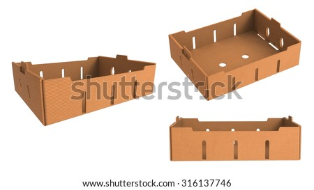 Carton cardboard brown box crate for vegetables, fruit, and things. isolated on white background. - stock photo