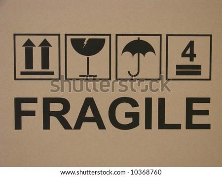 Carton fragile box markings - stock photo