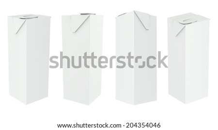 Carton Package boxes set Blank White Milk, Juice, Beverages On White Background Isolated. Ready For Your Design. - stock photo