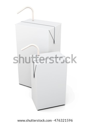 Cartons of milk or juice with the straw to drink isolated on white background. 3d rendering.