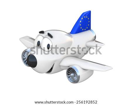 Cartoon airplane with a smiling face - European Union flag - stock photo