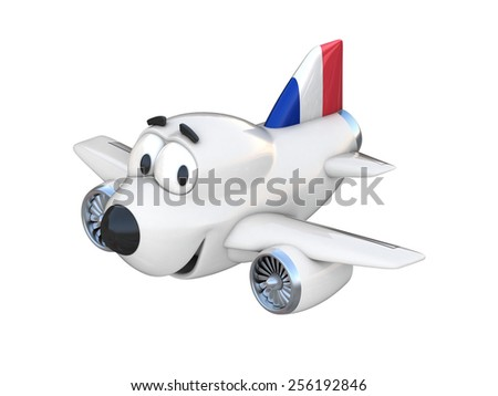 Cartoon airplane with a smiling face - French flag - stock photo