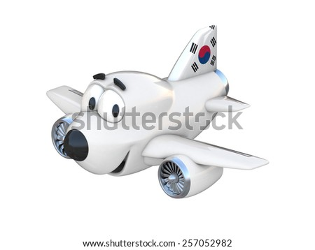 Cartoon airplane with a smiling face - South Korean flag - stock photo