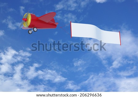 Cartoon Airplane with Banner - stock photo