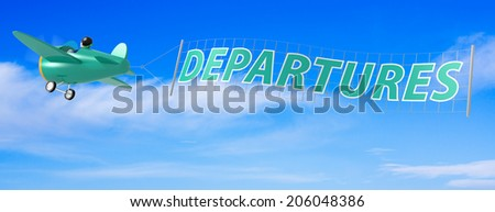 Cartoon Airplanes with Departures Banner. - stock photo