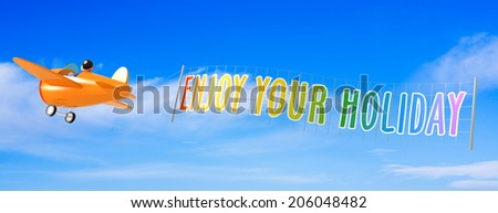 Cartoon Airplanes with Enjoy Travel Banner. - stock photo