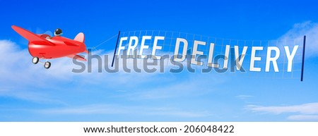 Cartoon Airplanes with Free Delivery Banner. - stock photo