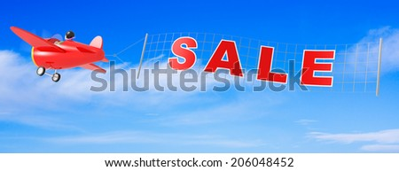 Cartoon Airplanes with Sale Banner. - stock photo