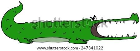 Cartoon alligator - stock photo