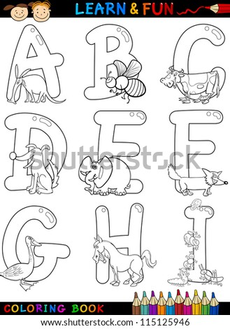 Cartoon Alphabet Coloring Book or Page Set with Funny Animals for Children Education and Fun - stock photo